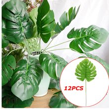 12pcs 60cm Artificial Tropical Palm Leaves Monstera Plants Flower Simulation Fake Leaf for Wedding Home garden Party Decor