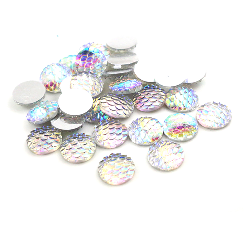 New Fashion 40pcs 12mm Transparent AB Colors Fish Scale Style Flat Back Resin Cabochons For Bracelet Earrings Accessories-Z4-28