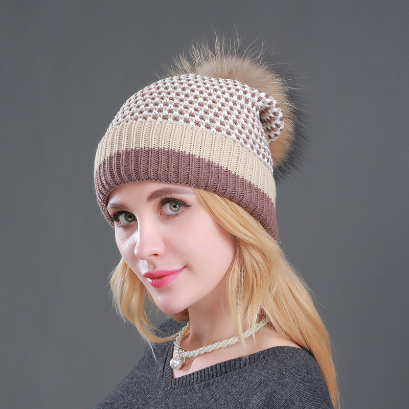 Winter Knit Hat Fashion Winter Fur Hat Warm Plus Velvet Female Wool Hat Mink and Fox Fur Ball Capfurcap Gorros Mujer Invierno in Women 39 s Skullies amp Beanies from Apparel Accessories