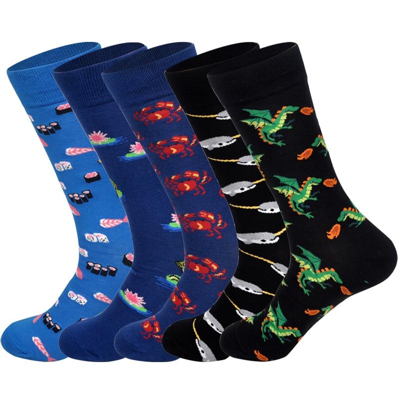 Downstairs Trend Men 39 s Socks Whale Crab Food Flower Funny Pattern Streetwear 2019 Hot Happy Socks Kanye West Skarpety in Men 39 s Socks from Underwear amp Sleepwears