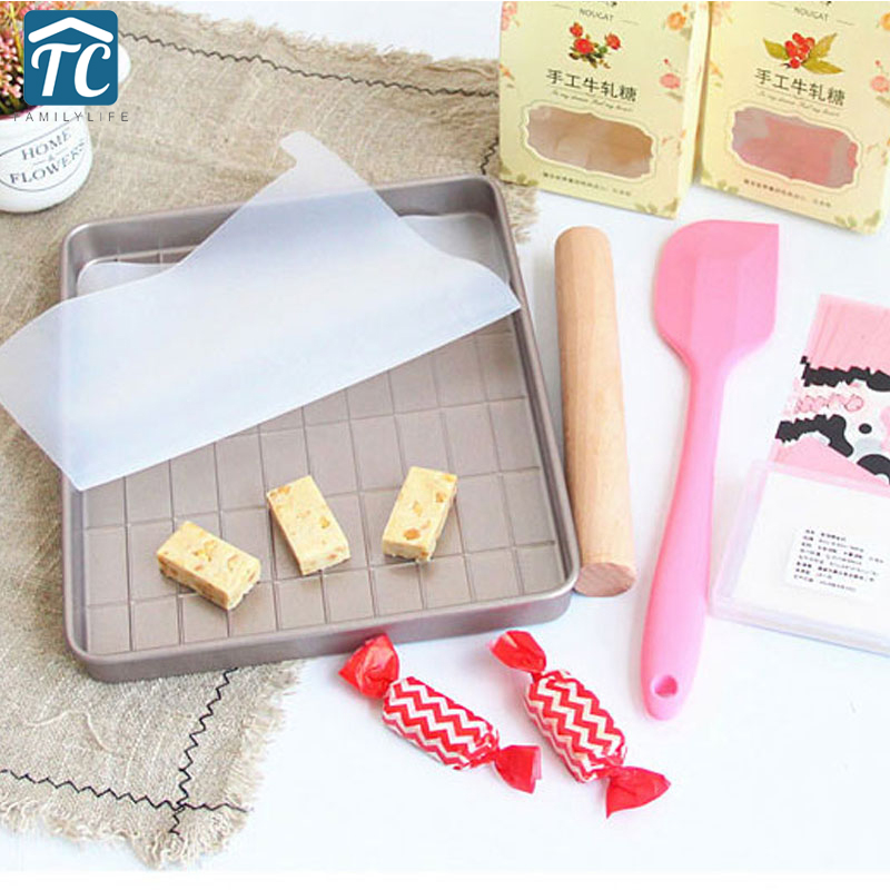 Baking Tools Nougat Cutting Tray Mold Set Candy Chocolate Cake Pastry Sugar Mould Bakeware Silicone Spatula Kitchen Accessories