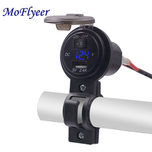 цена на MoFlyeer 5V 2.1A/1A Dual USB Car Charger LED Display Universal Phone Cigarette Lighter Socket Adapter Digital Voltmeter 12-24V