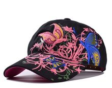 Fashion Flower Butterfly Embroidered Baseball Cap Women Casual Duck Tongue Hat Outdoor Shopping Cycling Sunscreen Hats#A(China)