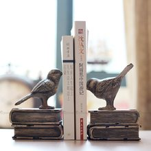 Vintage Resin Bird Bookend For Shelves Book Holder Stand Magazine Organizer Decoration Home Office Accessories Ornaments Gift