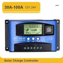 Controlador solar mppt 100a 60a 50a 40a 30a duplo usb display lcd 12v 24v regulador de carregador de painel de célula solar com carga