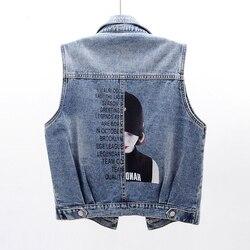 2020 Short Denim Sleeveless Vest Coat Women Spring Autumn Woman Jean Weste Korean Blue Plus Size Fashion Frayed Coletes Feminino