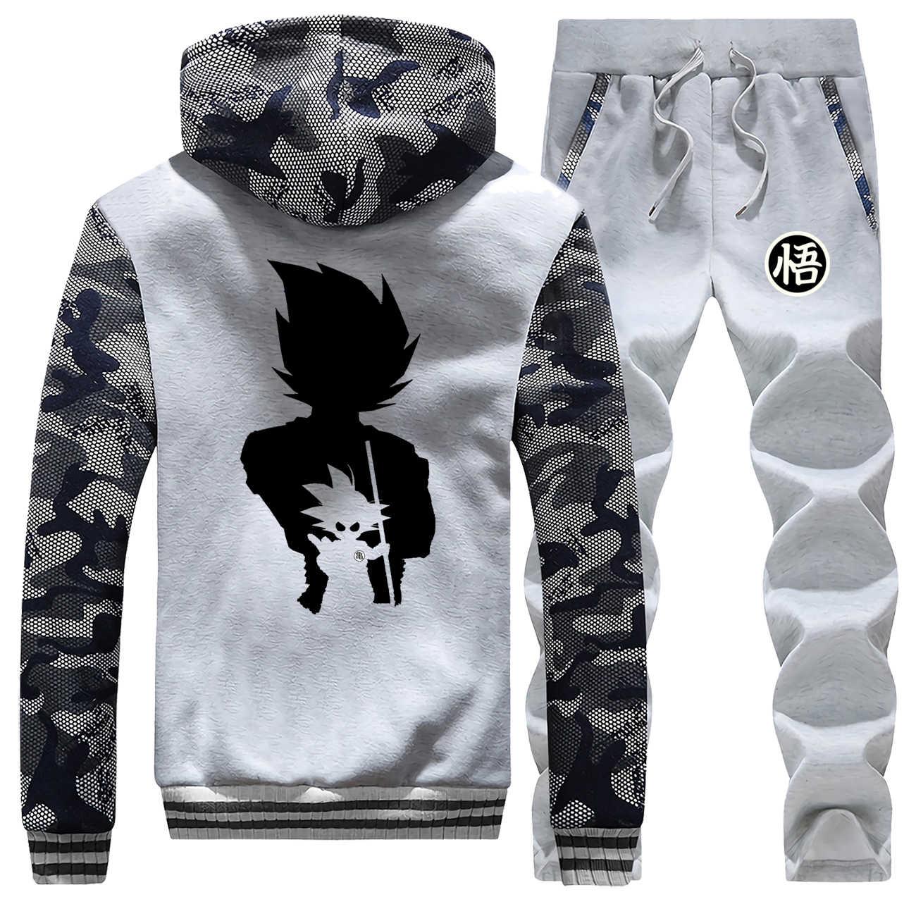 Męskie bluzy z kapturem kamuflaż 2019 gorąca sprzedaż zima Saiyan płaszcz gruby garnitur Dragon Ball ciepła kurtka polarowa odzież sportowa + 2 szt. Spodnie w komplecie