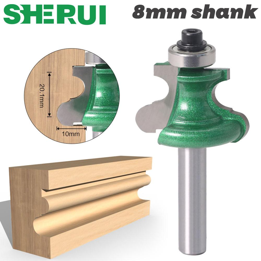 SHERUI 1pc 8mm Shank Bead Molding Router Bit Flute & Beading Line Woodworking Tenon Milling Cutter For Wood Tool