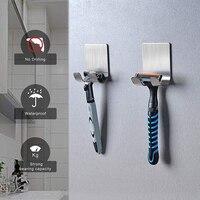 1PCS Schlag Kostenloser Rasieren Razor Halter Männer Rasieren Rasierer Lagerung Haken Wand Regal Bad Gestochen Rack Wand Küche Zubehör
