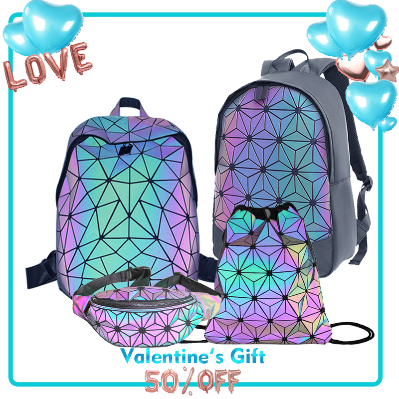 Fashion Luminous Geometric Bags Set Female Backpack Waist Bag And Boston Handbag Luxury Brand Bosla