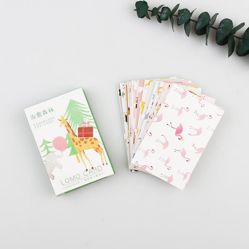 28 Pcs/pack Cute Forest Animals Plants Paper Business Cards Student Greeting Cards Postcard Stationary Letter Envelope Gifts