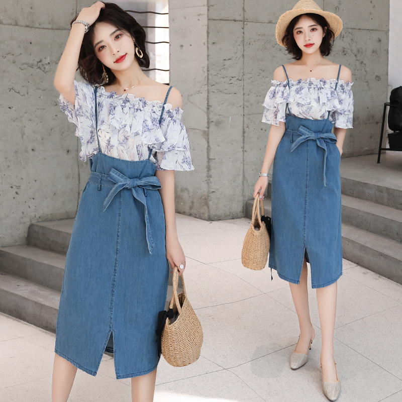Photo Shoot 2019 Summer New Style Korean-style Dress Outfit Women's Printed Short-sleeved Chiffon Shirt + Cowboy Strapped Dress