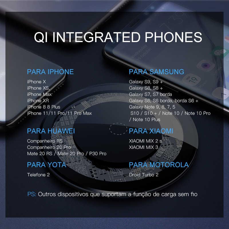 Amzish 15W Cepat Qi Wireless Charger untuk iPhone 8 Plus X XR X Max 11 Terlihat Nirkabel Pengisian Pad untuk Samsung S9 S10 Catatan 9 8