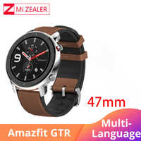 W magazynie Amazfit GTR 47mm biznes smart watch 5ATM wodoodporna 24 dni pracy GPS muzyki skórzane Huami Smartwatch