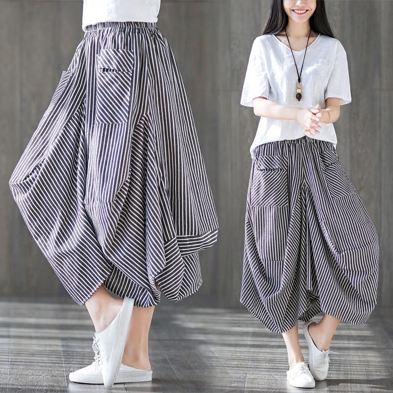 2019 Plus Size Summer Streetwear Casual Vintage Cotton Linen   Pants   Women Striped Elastic Waist   Wide     Leg     Pants   Harem   Pants   Trouse