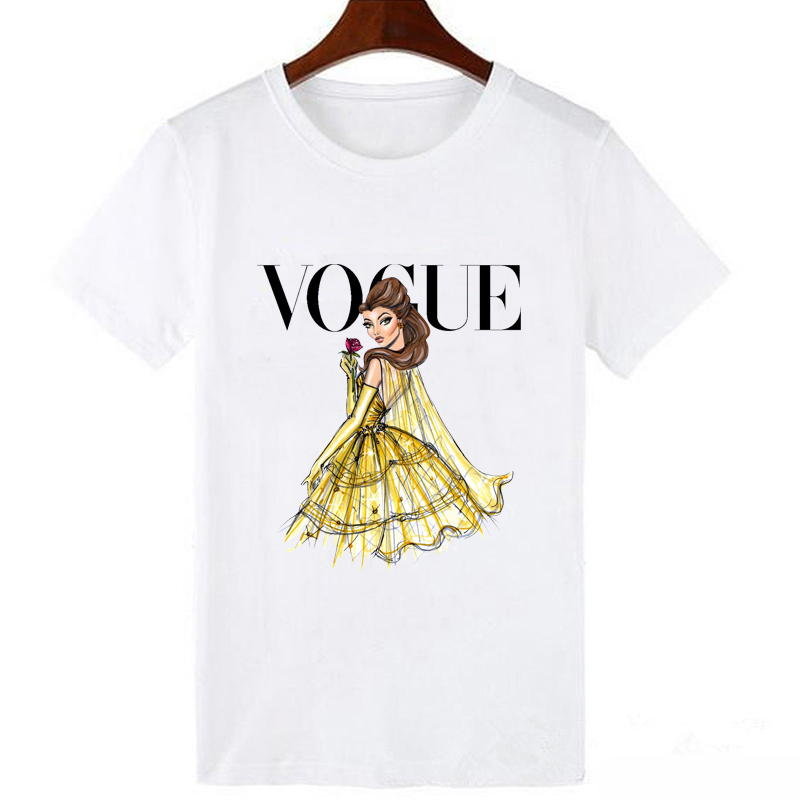 LUCKYROLL Beauty And The Beast Belle Princess Print Aesthetic Trendy Graphic T Shirt Women Short Sleeve Round Neck T-Shirts