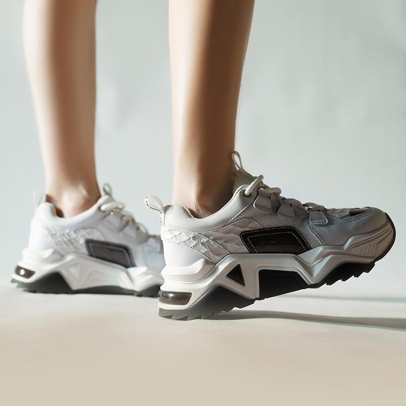 Повседневная Белая обувь; женские кроссовки на платформе; модная брендовая обувь из натуральной кожи; zapatos de mujer; женская обувь на толстой подошве; обувь для папы - 2