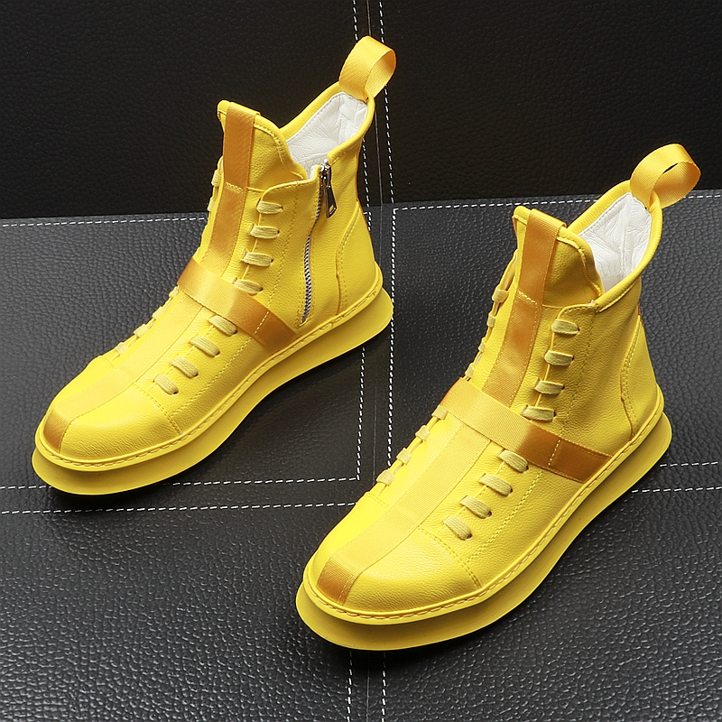 Spring Autumn Fashion Men Ankle Boots PU Leather Thick Bottom Men High Top Shoes Leisure Hip-hop Boots Botas Hombre