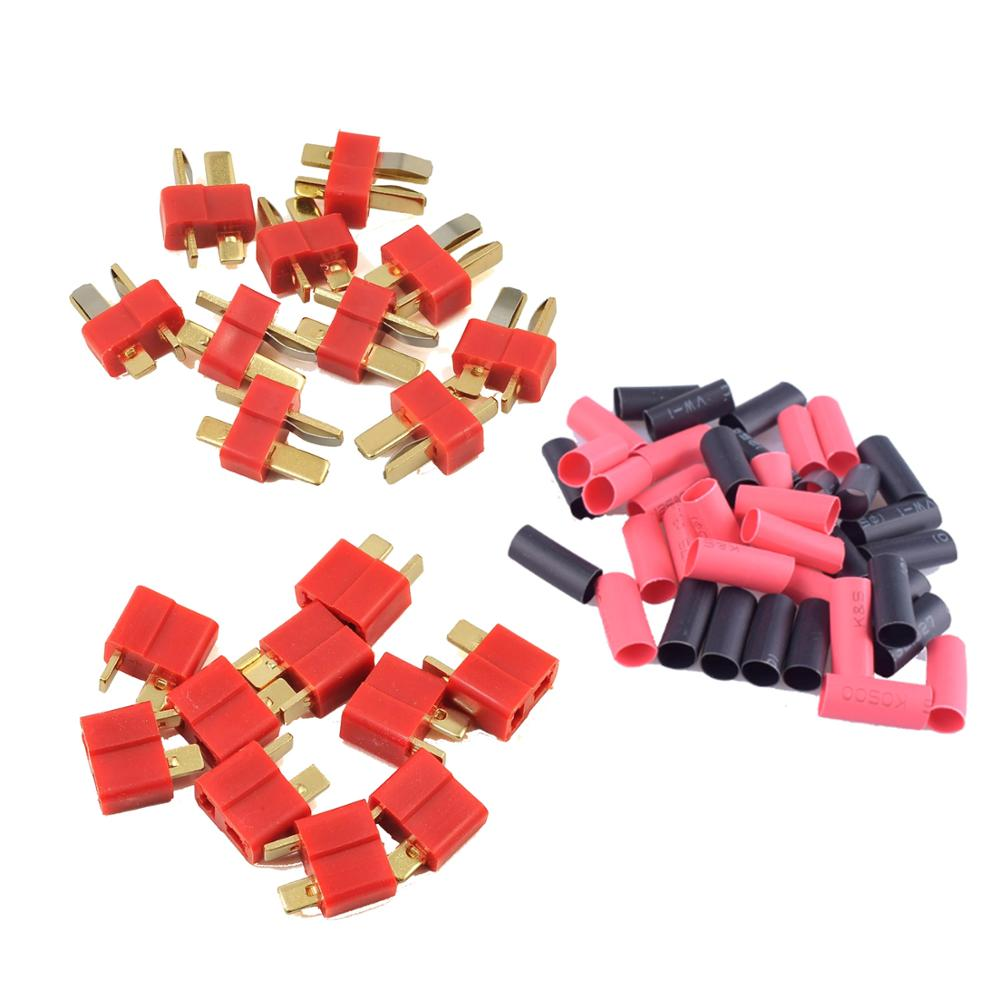 2/5/10 Pairs Red Black Ultra T-Plug Connectors Deans Style Male And Female With  Heat Shrink Tubing For RC Charger LiPo Battery