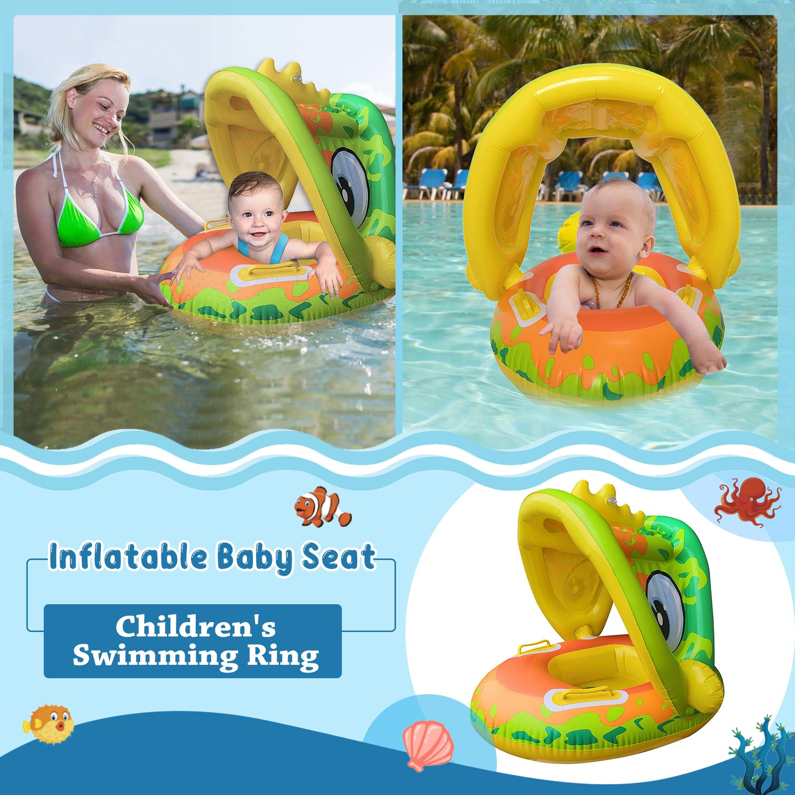 Awning Swimming Ring for Kids PVC Inflatable Baby Swimming Ring Summer Outdoor Swimming Pool Floats Swimming Toys 1-4Y Kids