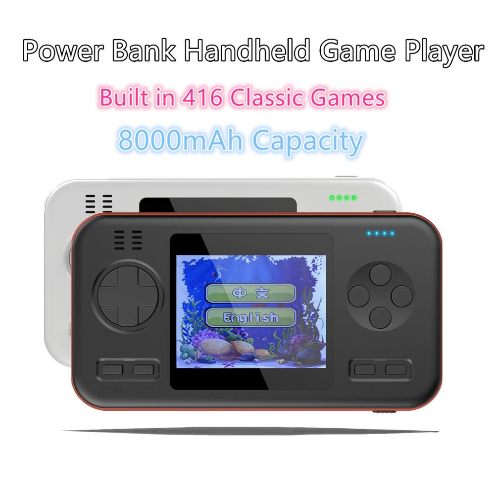2.8 inch 8Bit Color LED Screen Mini Portable Retro Power Bank 8000mAh Video Handheld Gaming Players Video Game Console Built in 416 Classic Games