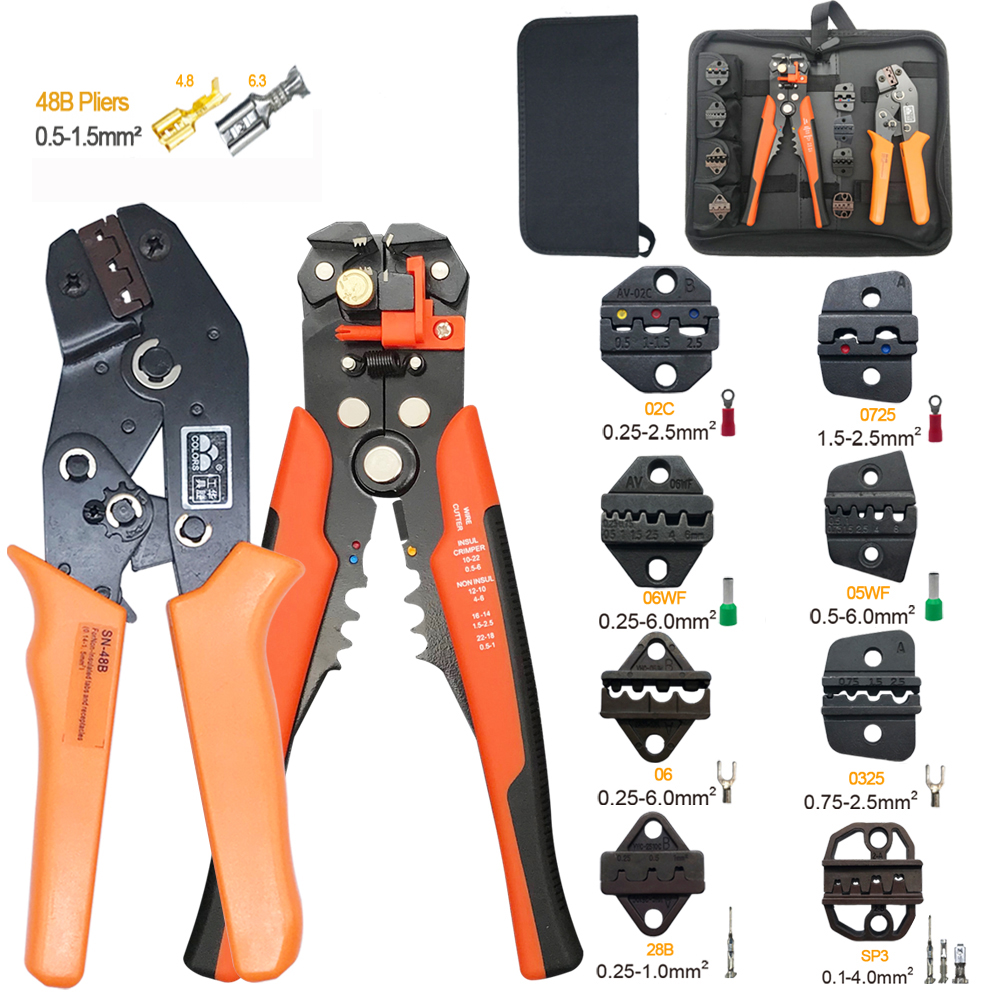 sn-48b 8 jaws toolkit crimper crimping tool for tube terminal wire stripper hand tool pliers