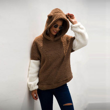 Women Winter Sherpa Fluffy Sweater Hooded Cartoon Teddy Fleece Pullover Korean Kawaii Female Warm Sweaters 2019 women teddy fleece sweater oversized 5xl korean cat hooded cardigan winter autumn warm fluffy coat sherpa sweaters
