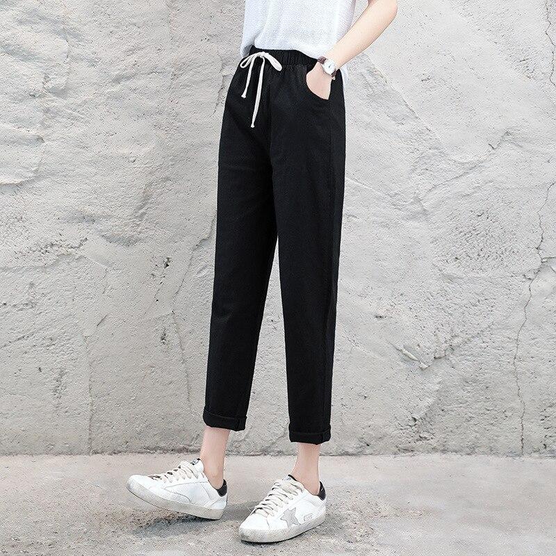 Verão 2019 de Linho de Algodão Calças de Comprimento No Tornozelo Outono das Mulheres Casuais Calças Largas Harlan Calças de Cintura Alta Senhoras Calças Brancas