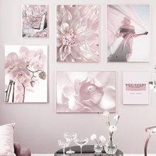 Постеры и принты с розовыми цветами для женщин, скандинавские цитаты с изображением гор фаленопсиса, настенная живопись на холсте, настенны...