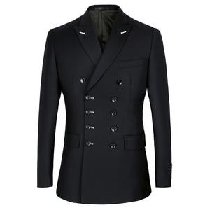 Мужской костюм Shenrun, облегающий двубортный костюм темно-синего и черного цвета с отворотом, для свадьбы, вечеринки, выпускного бала
