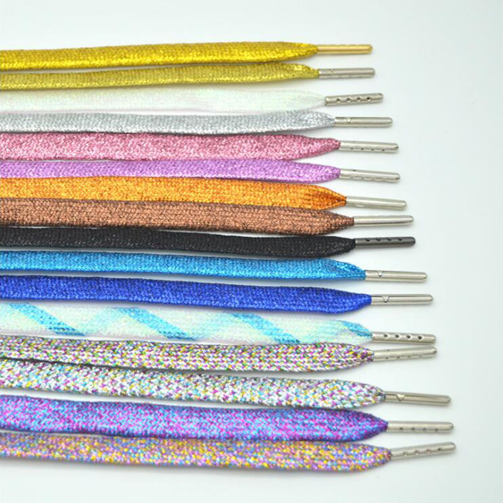 1Pair Flat Shoelaces Silver Metal Head Laces Camping Shoelaces Strings 110cm Metallic Glitter Shiny Gold Shoelace Shoe Lacing