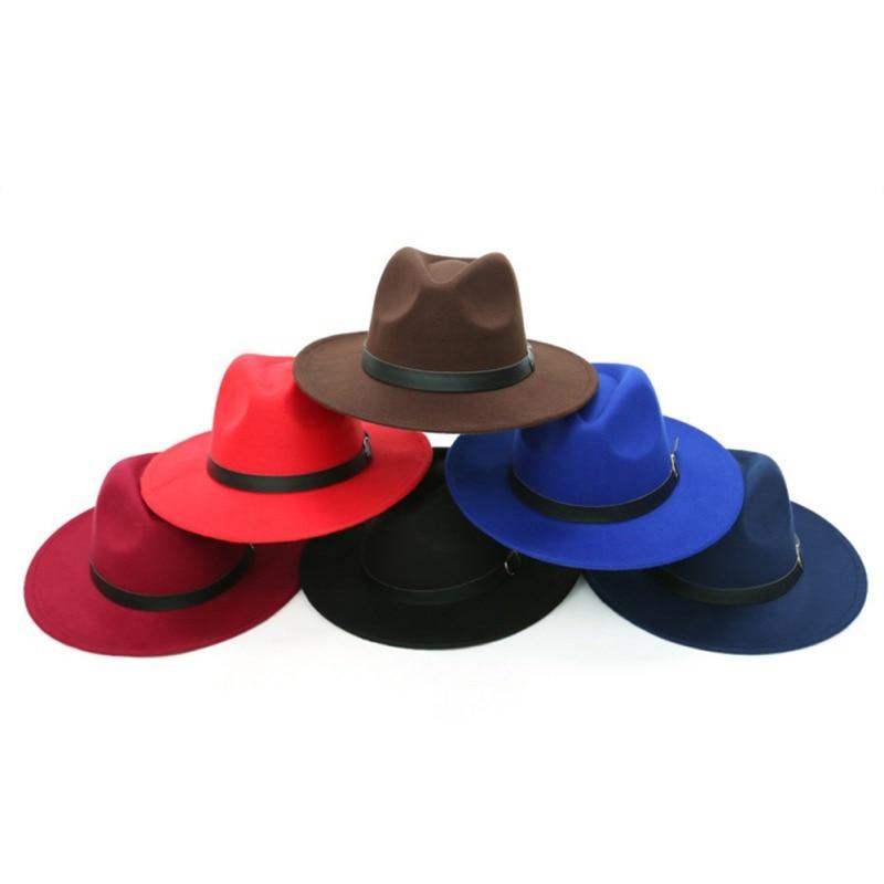 Retro Hard Felt Women Men Fold Brim Billycock Round Top  Bowler Derby Hat/'