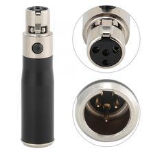2 pièces Mini XLR 3pin mâle à Mini XLR 4pin femelle en alliage de Zinc boîtier Audio adaptateur connecteur pour appareils photo reflex