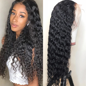 8-32 Inches Deep Wave Transparent Human Hair Lace Front Wig Wet And Wavy Lace Front Wig Density 150% 4X4 Lace Closure Wig