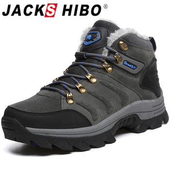 Jackshibo Ankle Snow Boots Shoes For Men Outdoor Waterproof Casual Shoes Men Women Winter Warm Snow Boots With Fur Pluse size 47 size 35 43 waterproof women winter shoes snow boots warm fur inside antiskid bottom keep warm mother casual boots bare shoes 40a