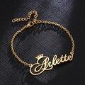 Мужской/женский анклет с именем короны, из нержавеющей стали, под заказ, цвета розового золота