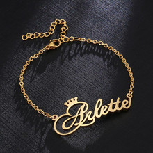 Tornozeleira com nome de coroa para mulheres e homens, bracelete de aço inoxidável personalizado, cor rosa, dourado, pulseira de tornozelo