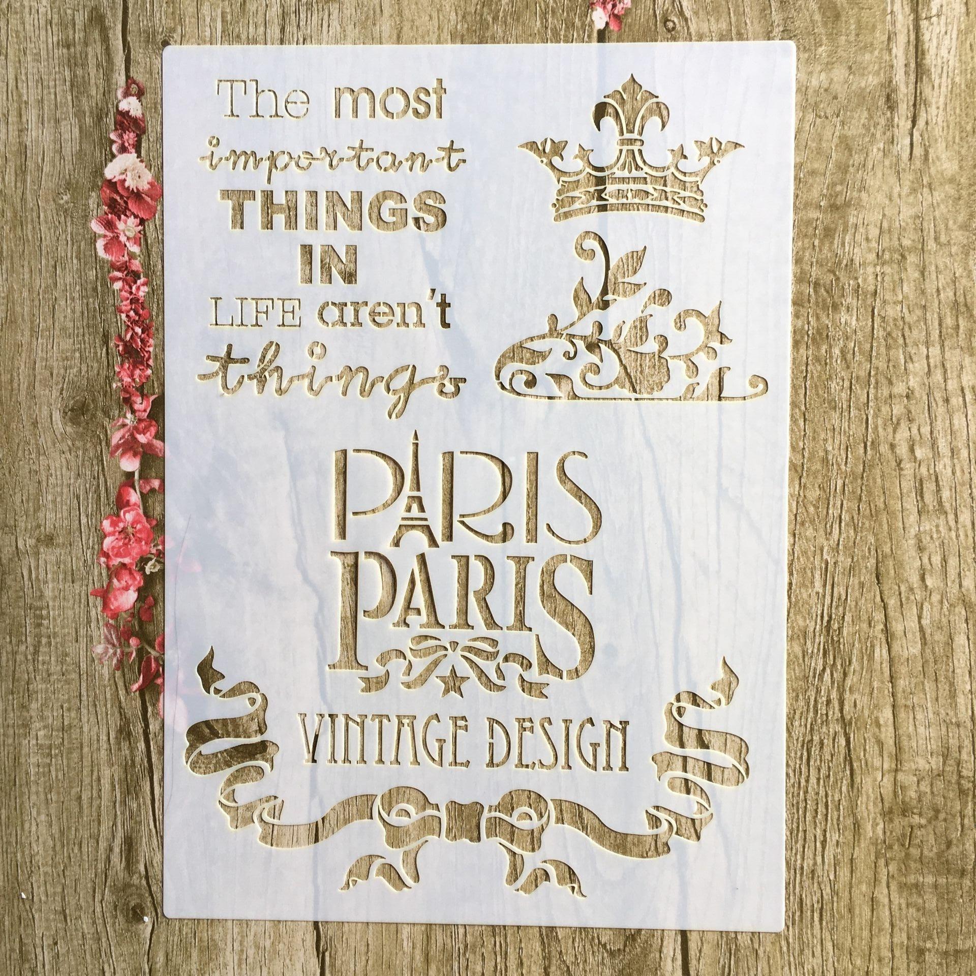 A4 29 * 21cm Paris Crown DIY Stencils Wall Painting Scrapbook Coloring Embossing Album Decorative Paper Card Template