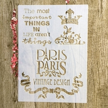 A4 29 * 21cm Paris Crown DIY Stencils Wall Painting Scrapbook Coloring Embossing Album Decorative Paper Card Template