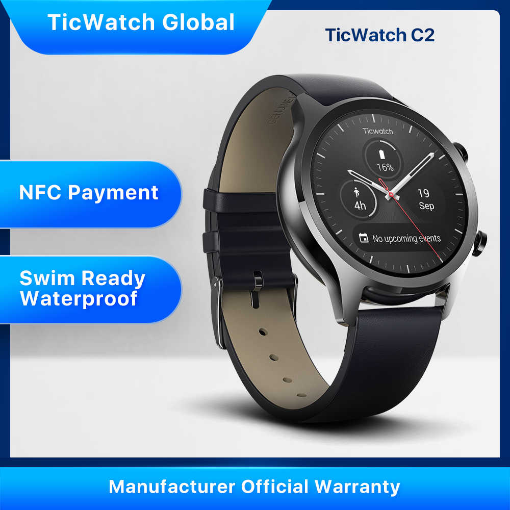 Ticwatch C2 Wear OS By Google Pria Bluetooth Smart Watch Android & IOS Kompatibel IP68 Berenang Siap Tahan Air GPS NFC tersedia