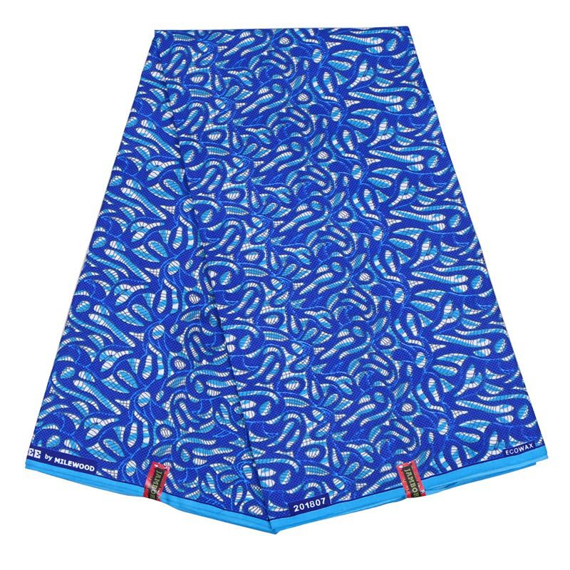 2019 New African Dutch Wax Fabric Blue Printed African Ankara Veritable Guaranteed Wax Printed Fabric 6Yards