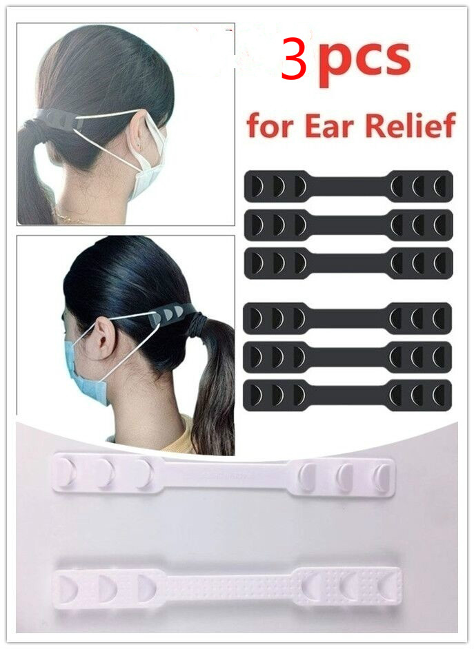 POFUNUO 3Pcs Transparent Or Black Extension Strap 3 Gears Adjustable Anti-Slip Ear Hook For Various Mask Ear Pain Relieved