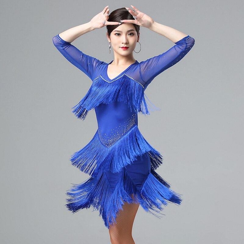 4 Color Latin Dance Performance Dress Women'S Professional Ballroom Samba Clothing Female Sexy Rhinestone Fringed Dress DL4957