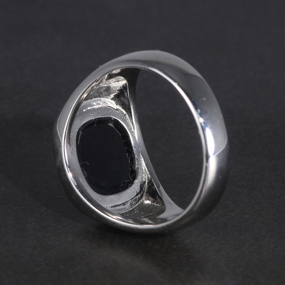 Image 4 - Real Pure Silver s925 Mens Rings Minimalist Turkish Rings Man Simple Finger Rings With Natural Onyx Stones Turkish JewelleryRings   -