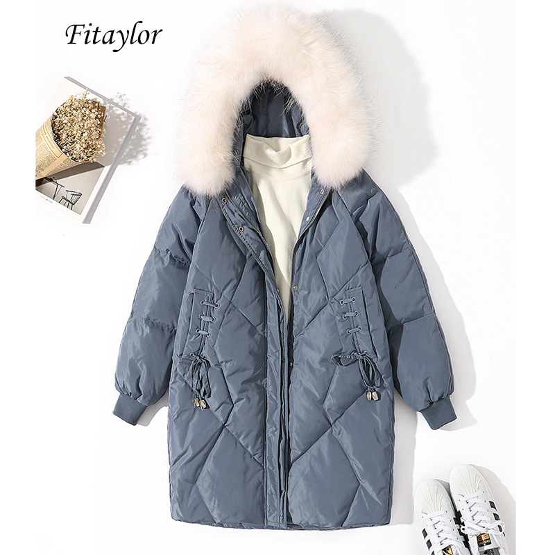 Fitaylor Winter Women White Duck Down Long Jacket Large Real Raccoon Fur Collar Hooded Down Parka Female Loose Zipper Outerwear