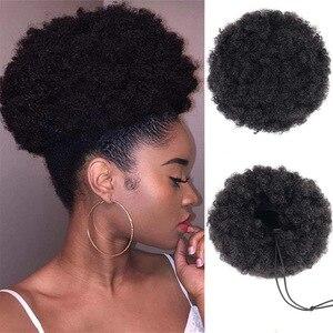 CLOTHOBEAUTY 1Pcs afro puff hair bun, Hair Rope Elastic Band Updo Messy Extensions Wavy Curly Hair Donut Chignon Fake Ponytail(China)