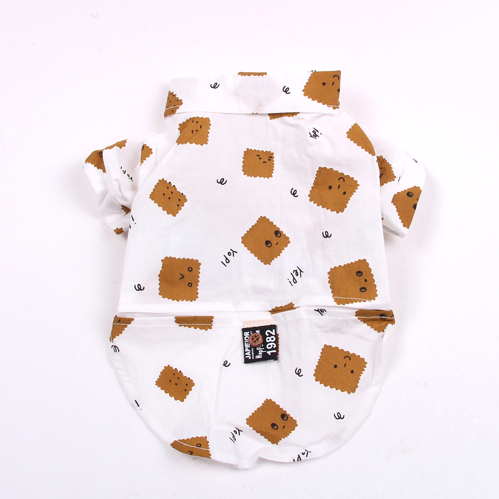 New Dog Pet Shirt Biscuits Design Rash guards Clothes Cat Puppy T-shirt Spring/Summer Clothes Apperal 4 colours