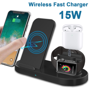 15W 3 in 1 Fast Wireless Charger USB Tpye C Charging Station Wireless Quick Charging Dock Station For All Phone