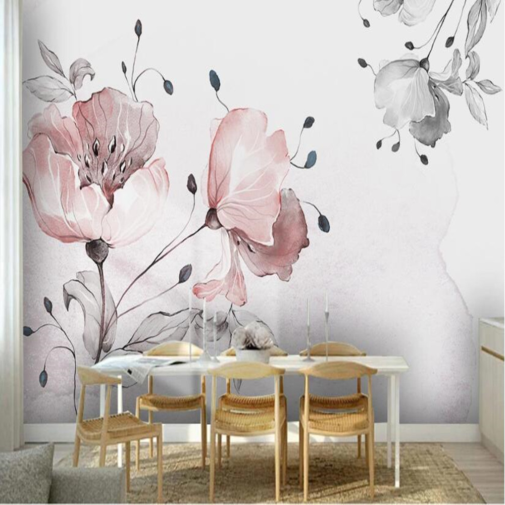 Milofi Custom 3D Hand Painted Watercolor Flowers Large Background Wallpaper Mural