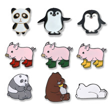 Cute animal pin Cartoon Bear penguin panda enamel pins brooches pink Rain boots pig Lapel pins badges women jewerly girl gifts(China)